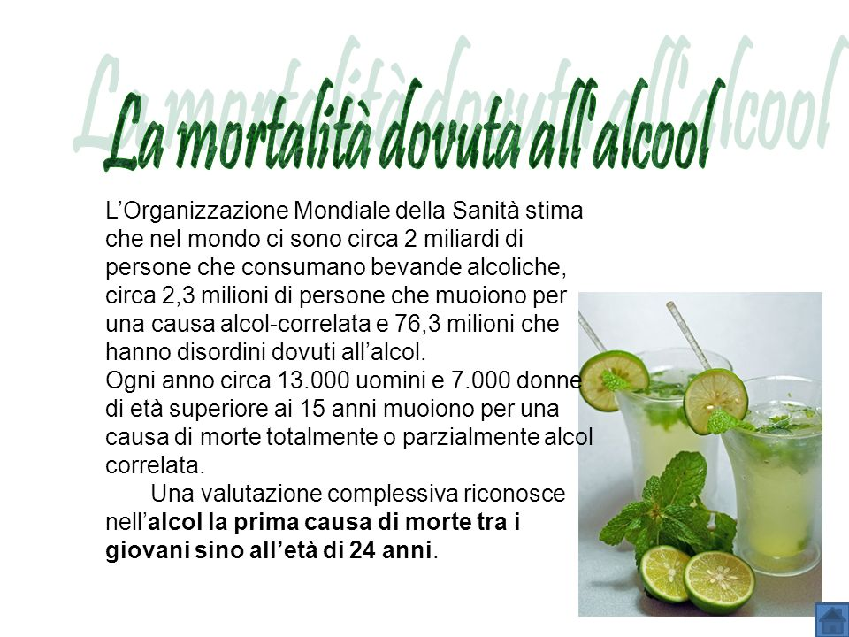 La mortalità dovuta all alcool