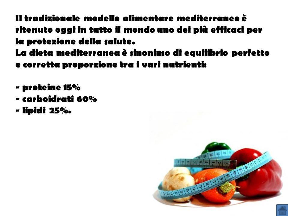 Il tradizionale modello alimentare mediterraneo è ritenuto oggi in tutto il mondo uno dei più efficaci per la protezione della salute. La dieta mediterranea è sinonimo di equilibrio perfetto e corretta proporzione tra i vari nutrienti: