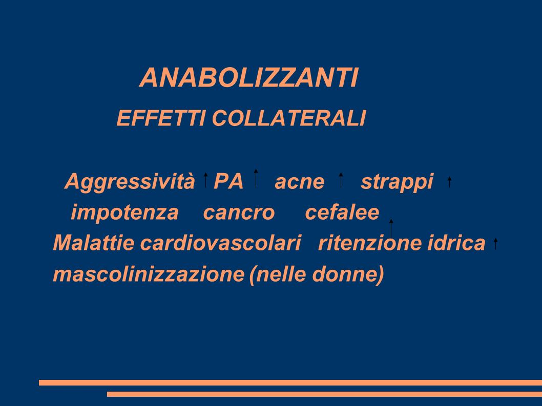 ANABOLIZZANTI EFFETTI COLLATERALI Aggressività PA acne strappi impotenza cancro cefalee Malattie cardiovascolari ritenzione idrica mascolinizzazione (nelle donne)