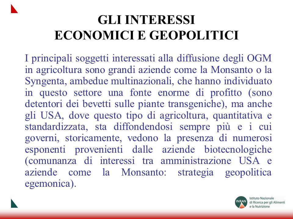 GLI INTERESSI ECONOMICI E GEOPOLITICI