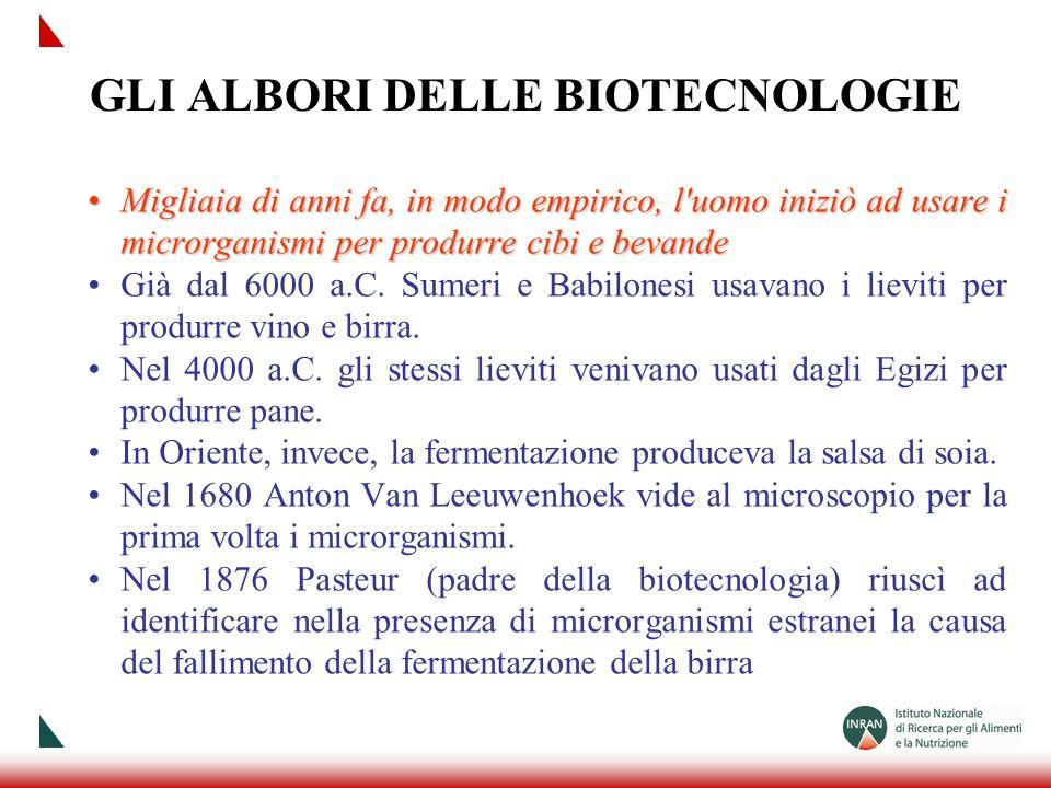 GLI ALBORI DELLE BIOTECNOLOGIE