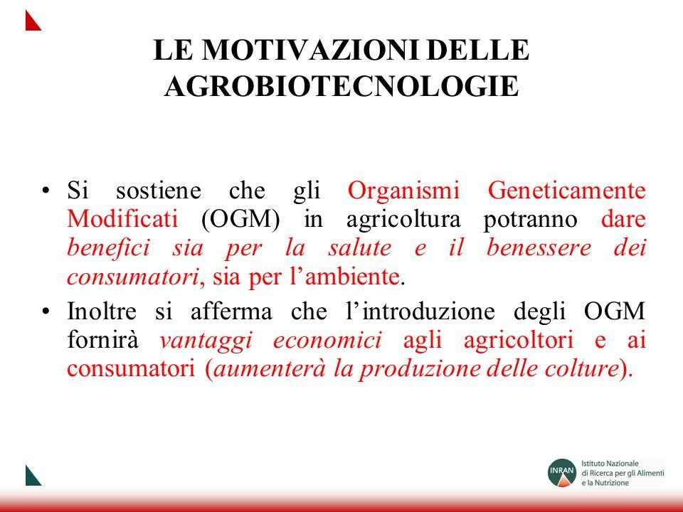 LE MOTIVAZIONI DELLE AGROBIOTECNOLOGIE