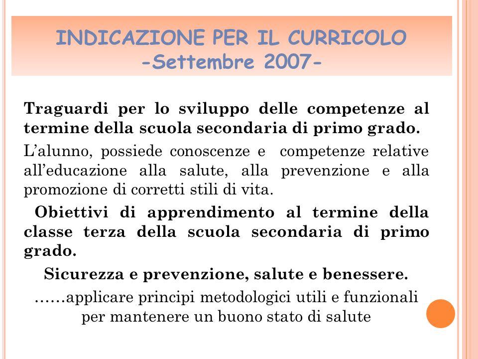 INDICAZIONE PER IL CURRICOLO -Settembre 2007-