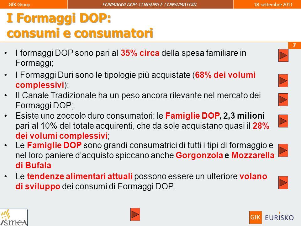 I Formaggi DOP: consumi e consumatori