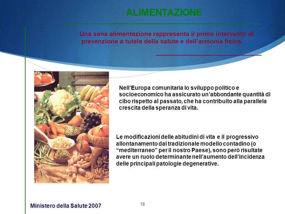 ALIMENTAZIONE Una sana alimentazione rappresenta il primo intervento di. prevenzione a tutela della salute e dell'armonia fisica.