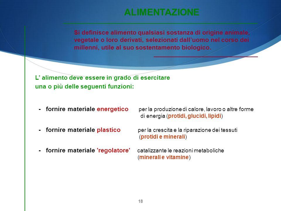ALIMENTAZIONE Si definisce alimento qualsiasi sostanza di origine animale, vegetale o loro derivati, selezionati dall'uomo nel corso dei.
