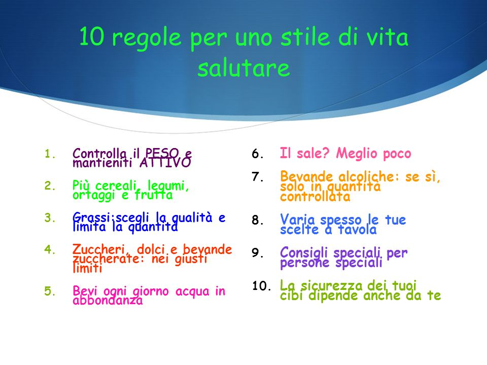 10 regole per uno stile di vita salutare