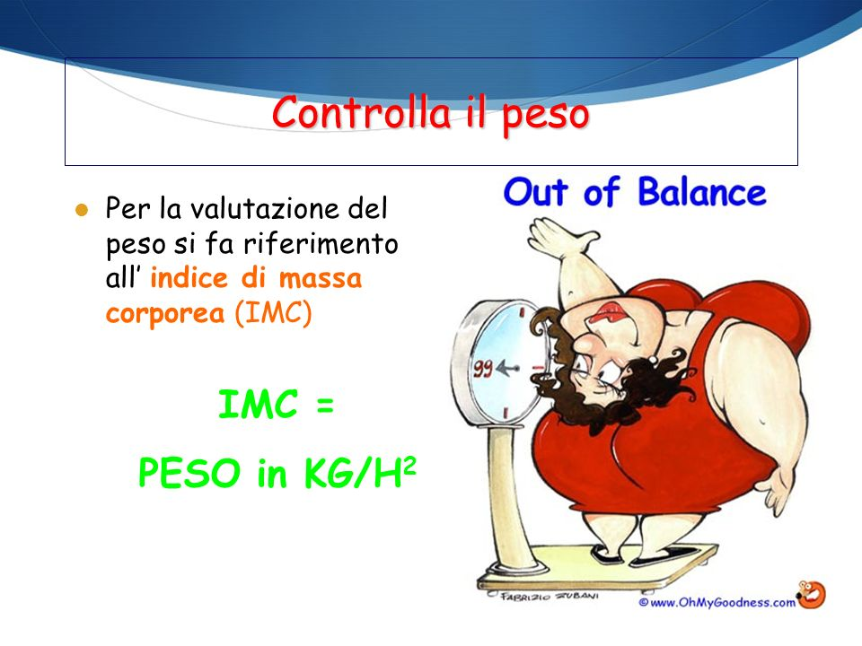 Controlla il peso IMC = PESO in KG/H2