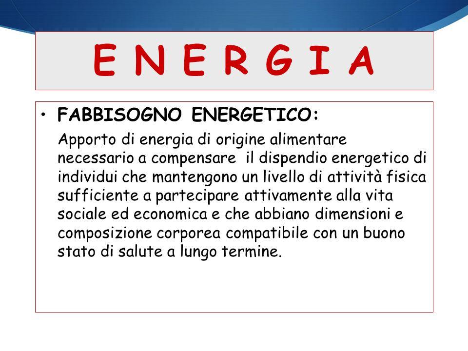 E N E R G I A FABBISOGNO ENERGETICO: