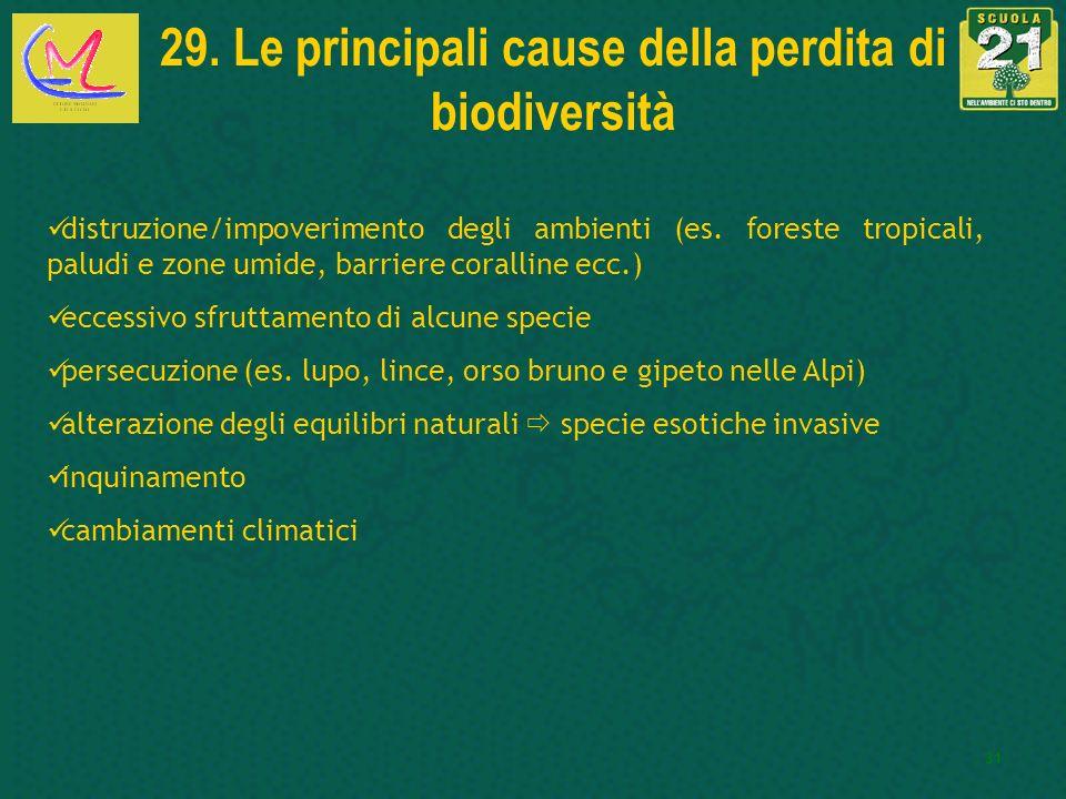 29. Le principali cause della perdita di biodiversità