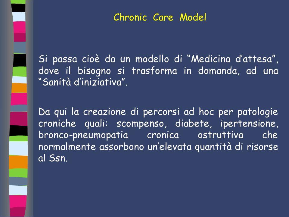 Chronic Care Model Si passa cioè da un modello di Medicina d'attesa , dove il bisogno si trasforma in domanda, ad una Sanità d'iniziativa .