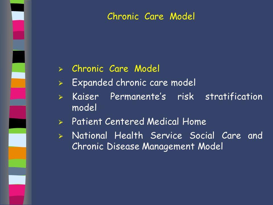 Chronic Care Model Chronic Care Model. Expanded chronic care model. Kaiser Permanente's risk stratification model.