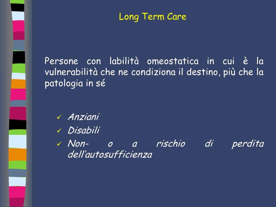Long Term Care Persone con labilità omeostatica in cui è la vulnerabilità che ne condiziona il destino, più che la patologia in sé.