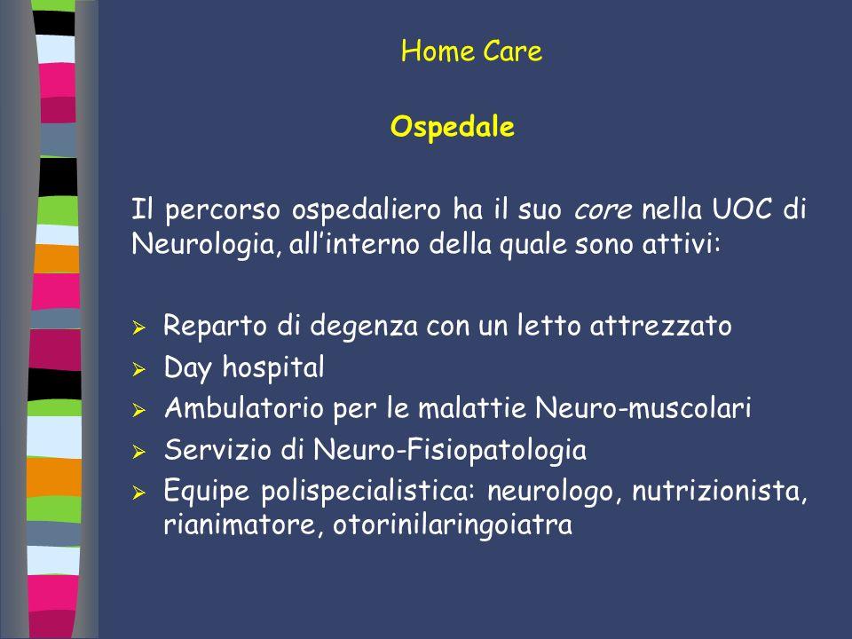 Home Care Ospedale. Il percorso ospedaliero ha il suo core nella UOC di Neurologia, all'interno della quale sono attivi: