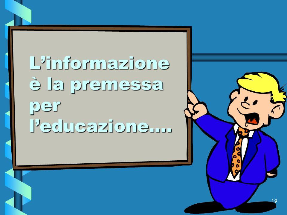 L'informazione è la premessa per l'educazione….