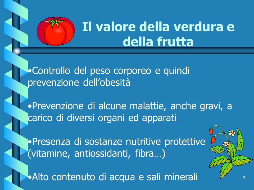 Il valore della verdura e della frutta