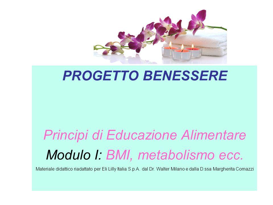 Principi di Educazione Alimentare Modulo I: BMI, metabolismo ecc.