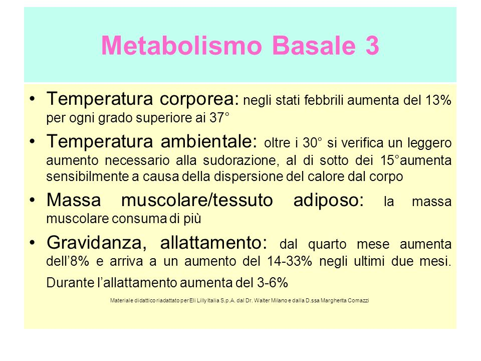Metabolismo Basale 3 Temperatura corporea: negli stati febbrili aumenta del 13% per ogni grado superiore ai 37°