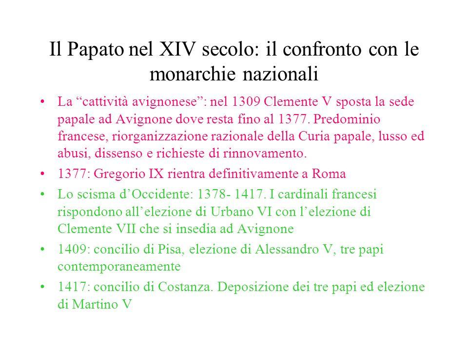 Il Papato nel XIV secolo: il confronto con le monarchie nazionali