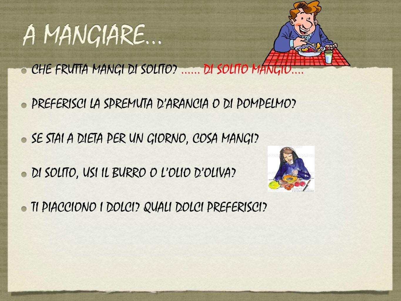 A MANGIARE... CHE FRUTTA MANGI DI SOLITO ...... DI SOLITO MANGIO....
