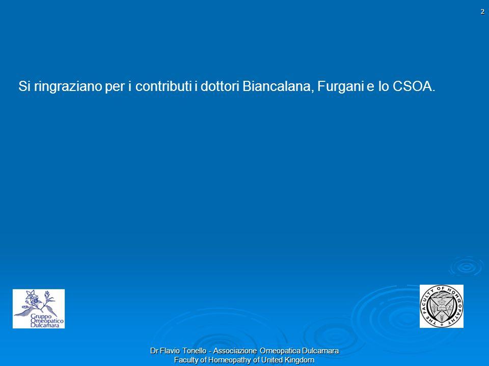 Si ringraziano per i contributi i dottori Biancalana, Furgani e lo CSOA.