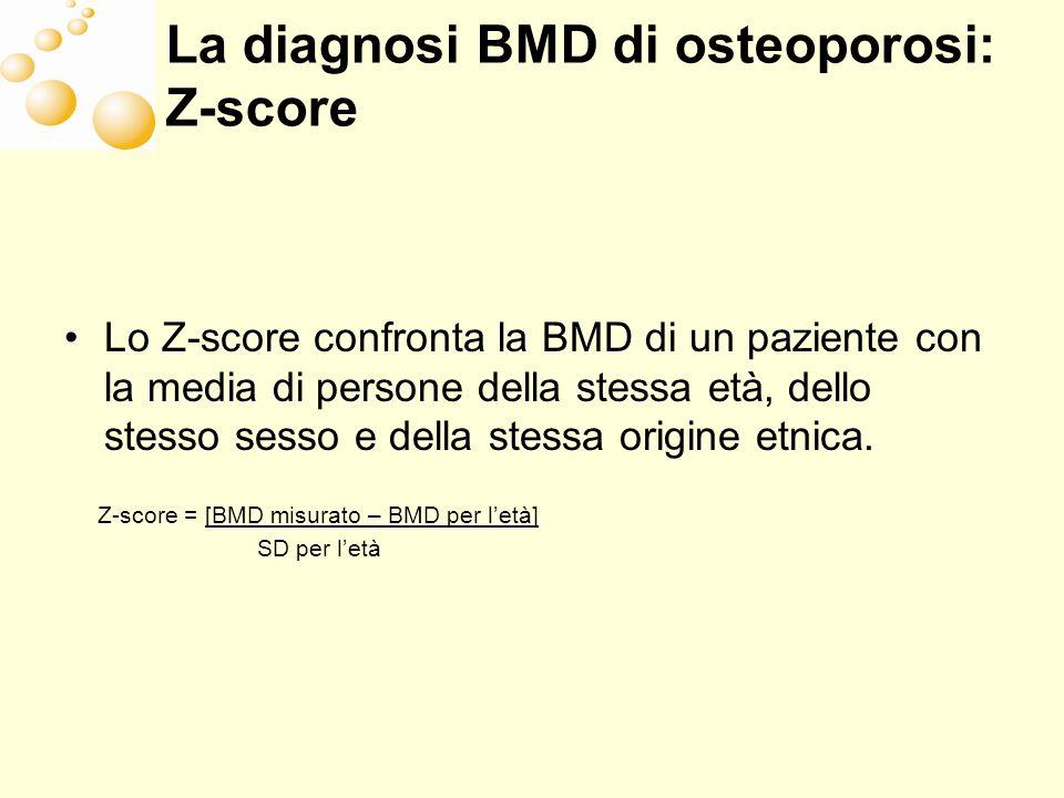La diagnosi BMD di osteoporosi: Z-score