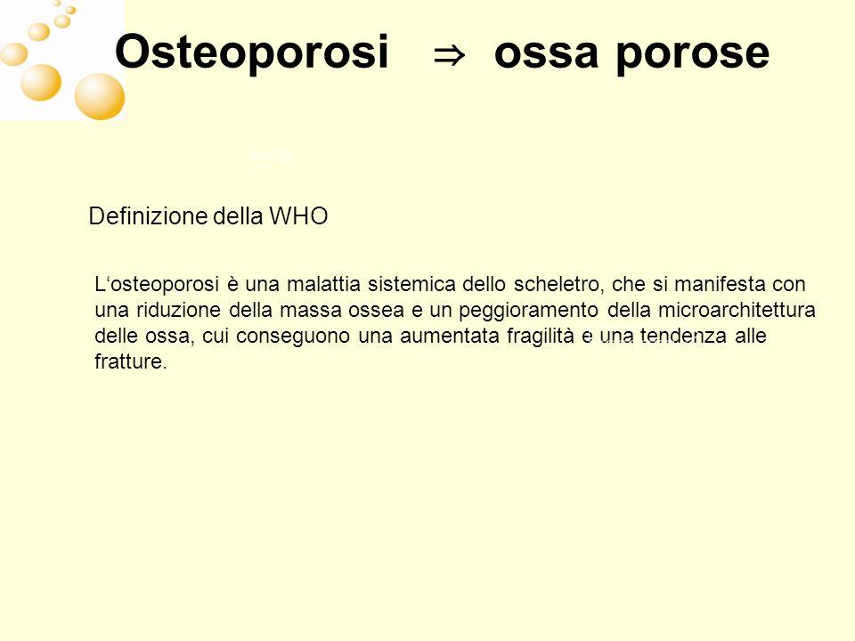 Osteoporosi ⇒ ossa porose