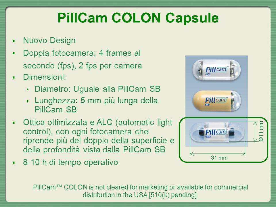 PillCam COLON Capsule Nuovo Design Doppia fotocamera; 4 frames al