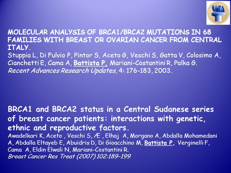 MOLECULAR ANALYSIS OF BRCA1/BRCA2 MUTATIONS IN 68 FAMILIES WITH BREAST OR OVARIAN CANCER FROM CENTRAL ITALY.