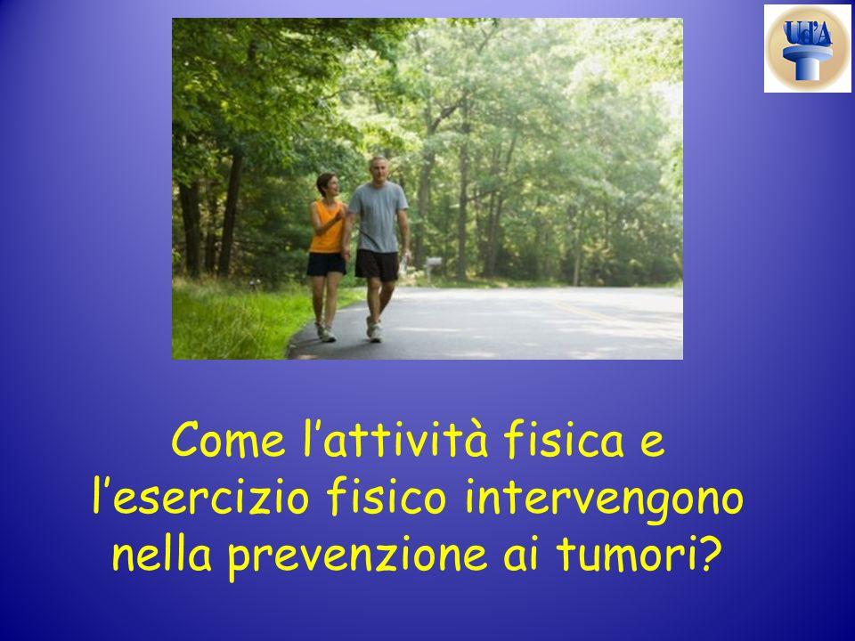 Come l'attività fisica e l'esercizio fisico intervengono nella prevenzione ai tumori