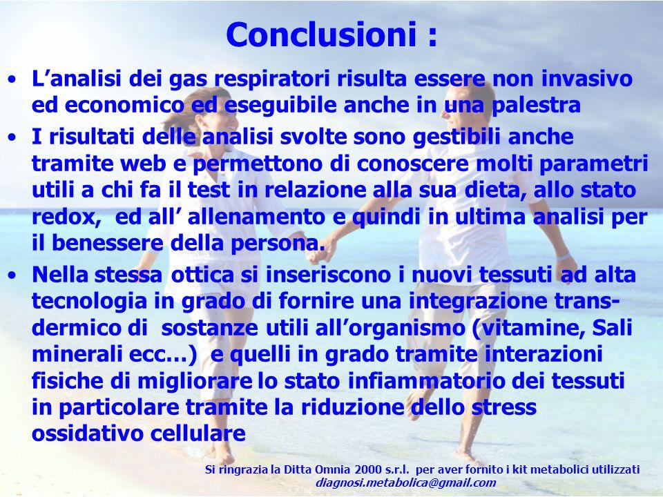 Conclusioni :L'analisi dei gas respiratori risulta essere non invasivo ed economico ed eseguibile anche in una palestra.