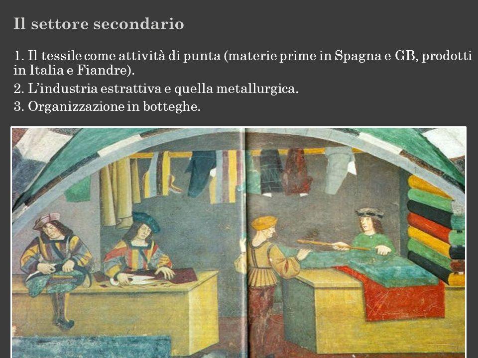 Il settore secondario 1. Il tessile come attività di punta (materie prime in Spagna e GB, prodotti in Italia e Fiandre).
