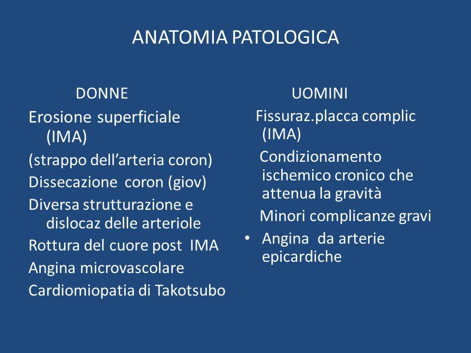 ANATOMIA PATOLOGICA Erosione superficiale (IMA) DONNE