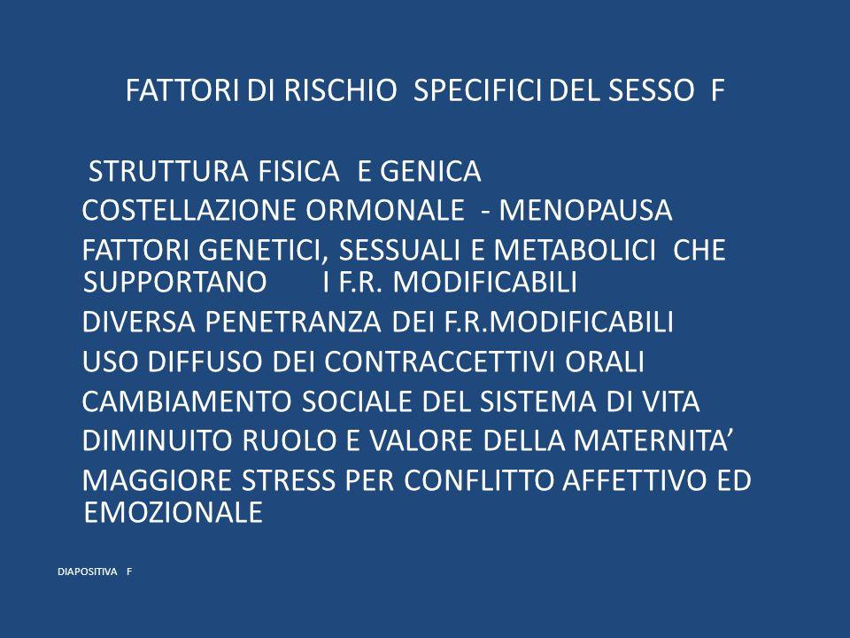 FATTORI DI RISCHIO SPECIFICI DEL SESSO F