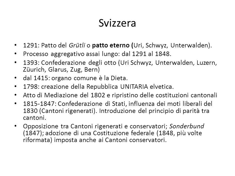 Svizzera 1291: Patto del Grütli o patto eterno (Uri, Schwyz, Unterwalden). Processo aggregativo assai lungo: dal 1291 al 1848.
