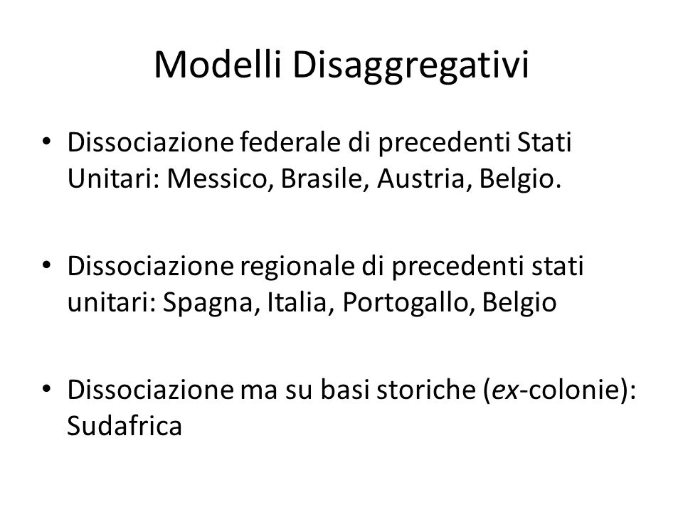Modelli Disaggregativi