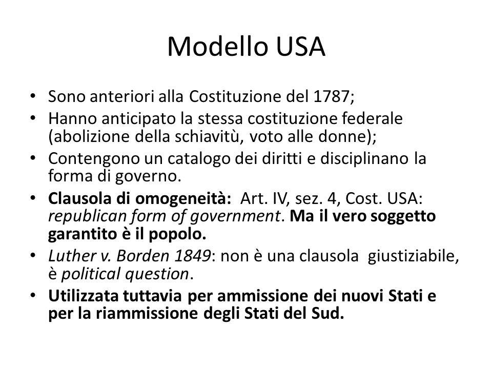 Modello USA Sono anteriori alla Costituzione del 1787;