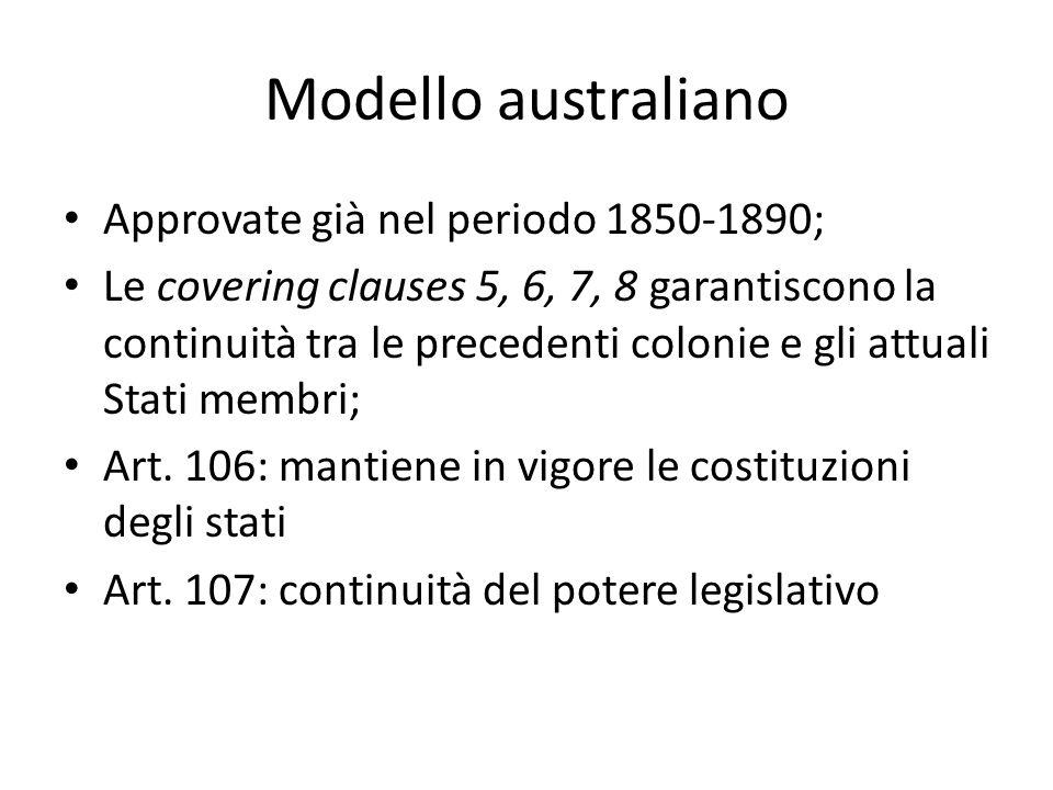 Modello australiano Approvate già nel periodo 1850-1890;