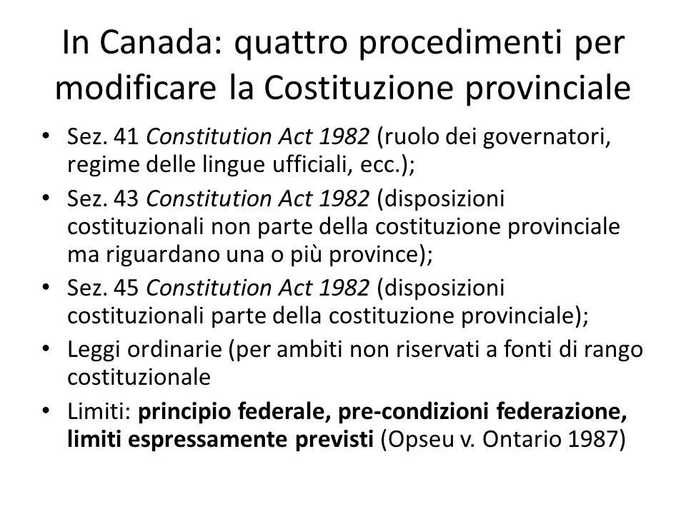 In Canada: quattro procedimenti per modificare la Costituzione provinciale