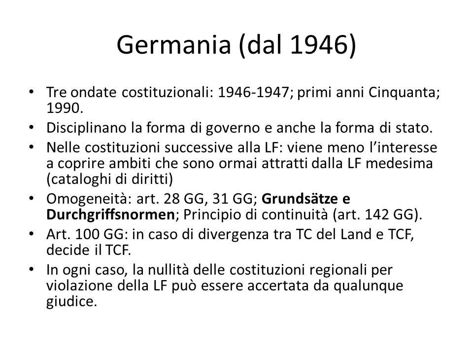 Germania (dal 1946) Tre ondate costituzionali: 1946-1947; primi anni Cinquanta; 1990. Disciplinano la forma di governo e anche la forma di stato.
