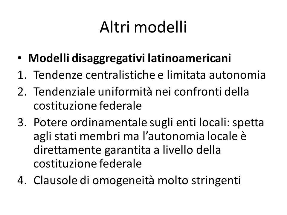Altri modelli Modelli disaggregativi latinoamericani