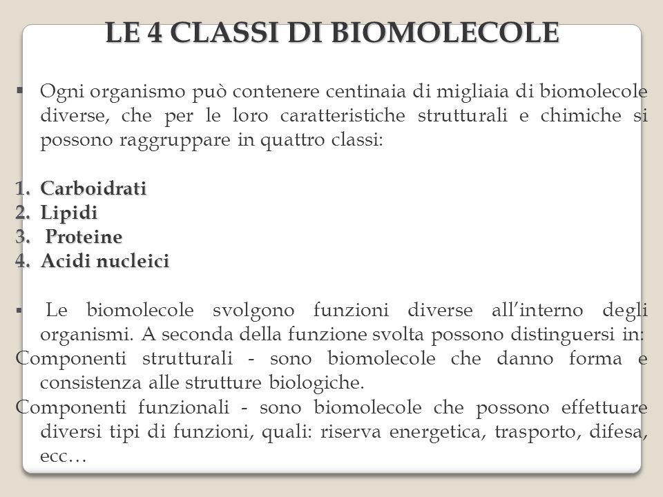 LE 4 CLASSI DI BIOMOLECOLE