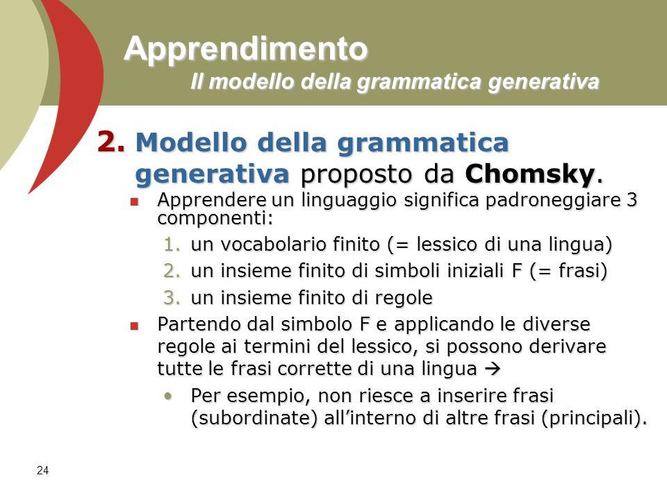 Apprendimento Il modello della grammatica generativa