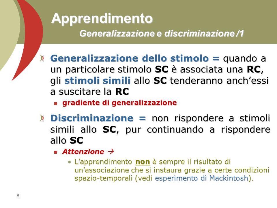 Apprendimento Generalizzazione e discriminazione /1