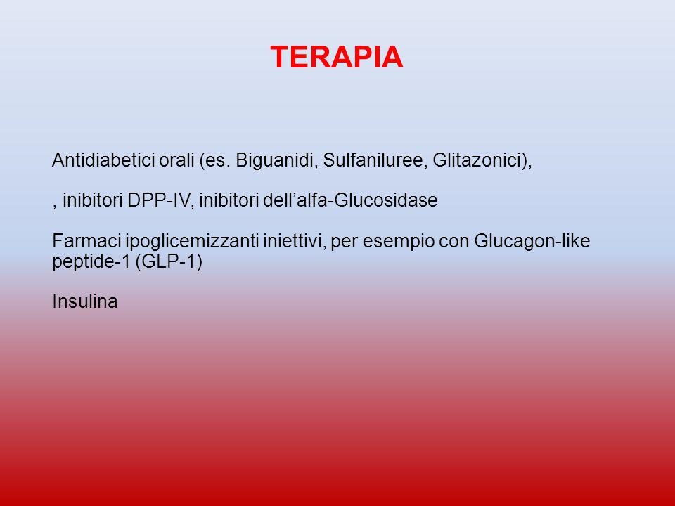 TERAPIA Antidiabetici orali (es. Biguanidi, Sulfaniluree, Glitazonici), , inibitori DPP-IV, inibitori dell'alfa-Glucosidase.