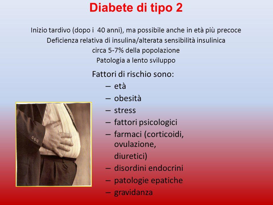 Diabete di tipo 2 Fattori di rischio sono: età obesità stress