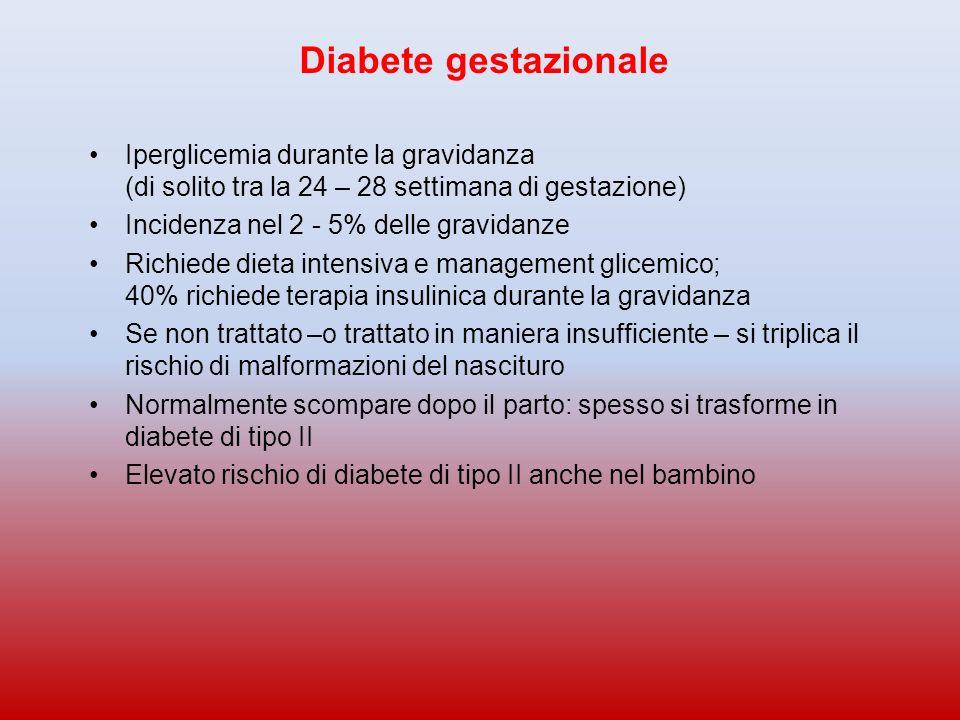 Diabete gestazionale Iperglicemia durante la gravidanza (di solito tra la 24 – 28 settimana di gestazione)