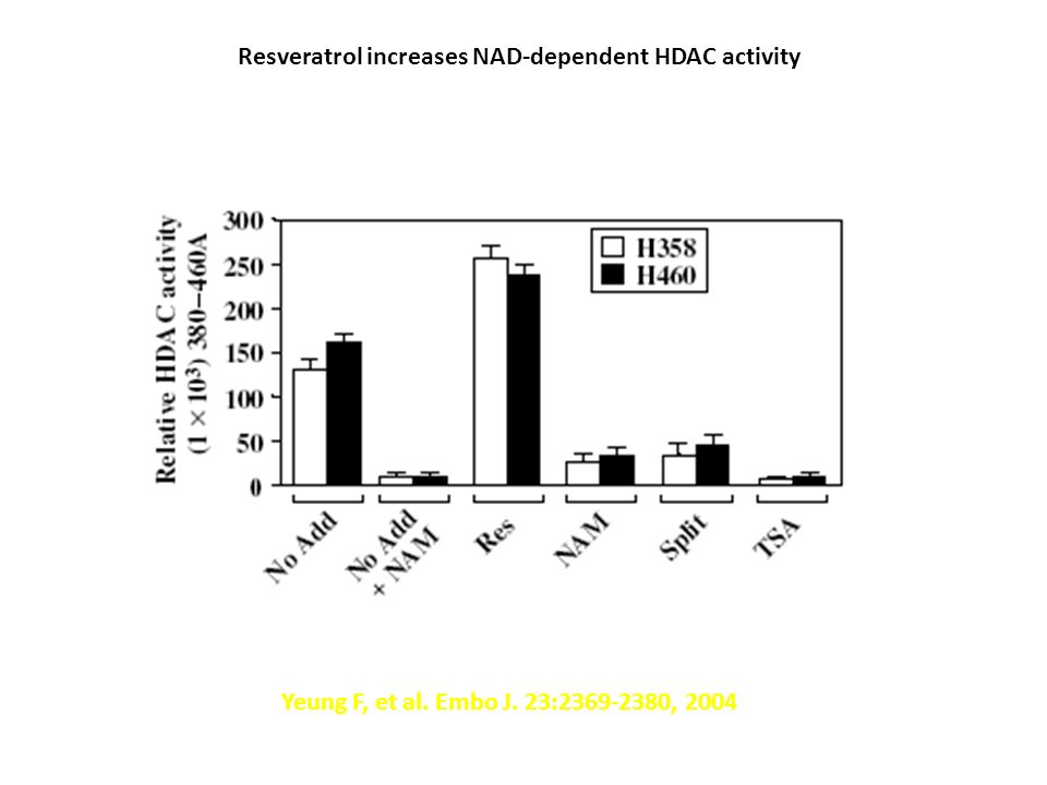 Resveratrol increases NAD-dependent HDAC activity