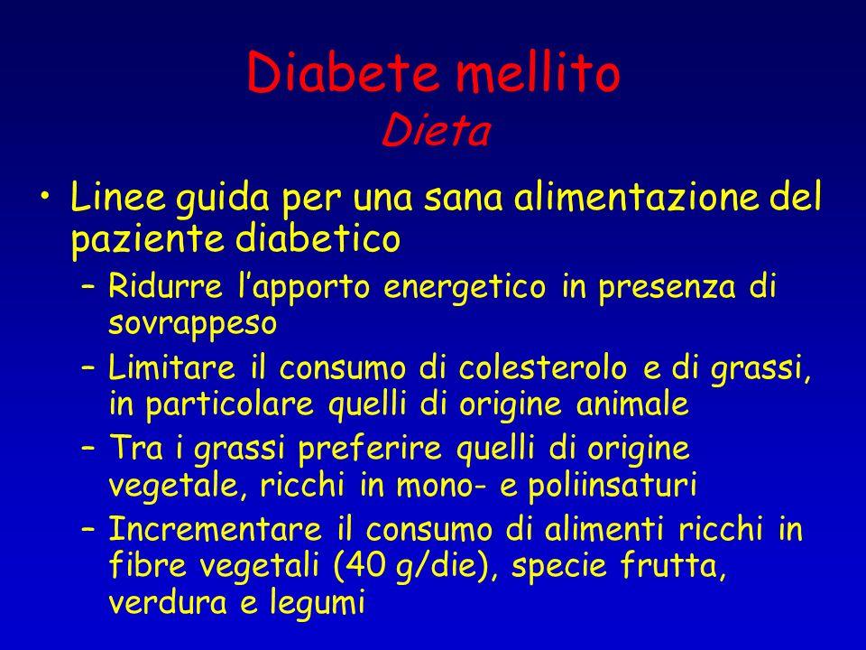 Diabete mellito Dieta Linee guida per una sana alimentazione del paziente diabetico. Ridurre l'apporto energetico in presenza di sovrappeso.