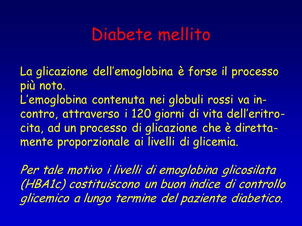 Diabete mellito La glicazione dell'emoglobina è forse il processo
